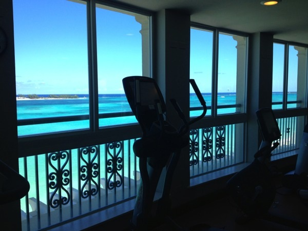 Sandals Royal Bahamian Fitness Center gym with view