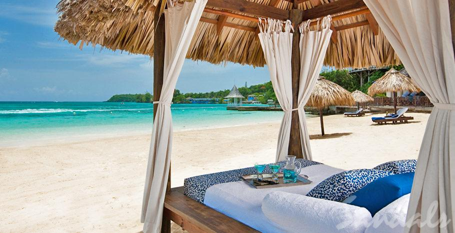 Sandals resorts beach bed